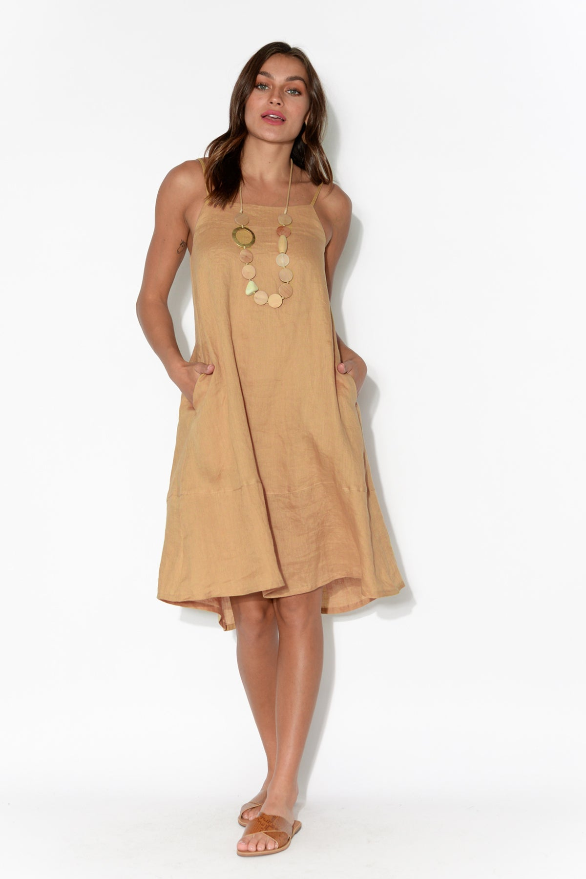 Tribu Tan Sleeveless Linen Dress