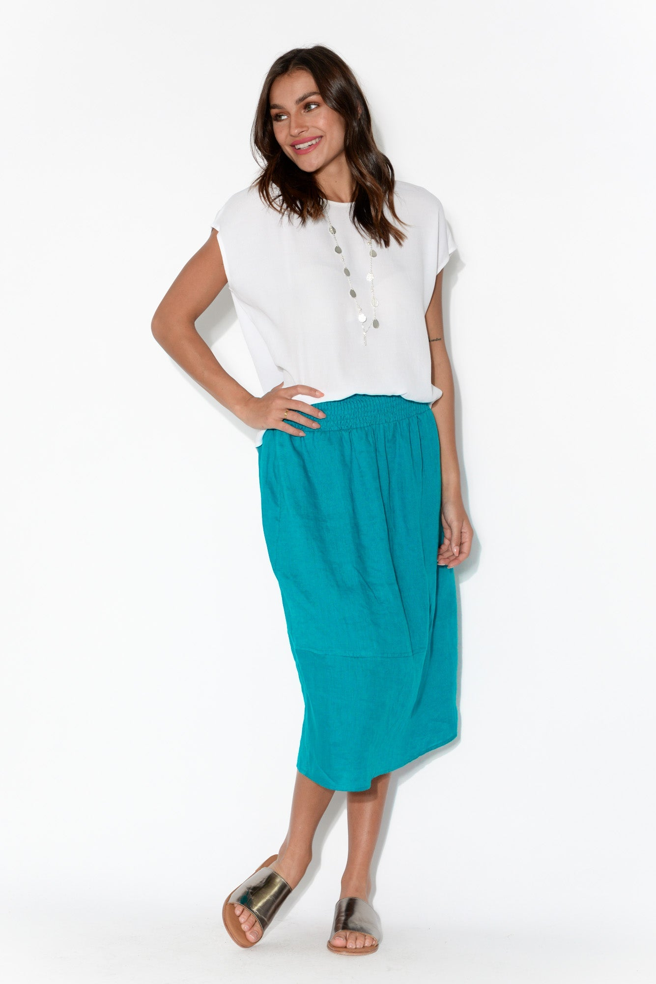 Tribu Teal Linen Skirt