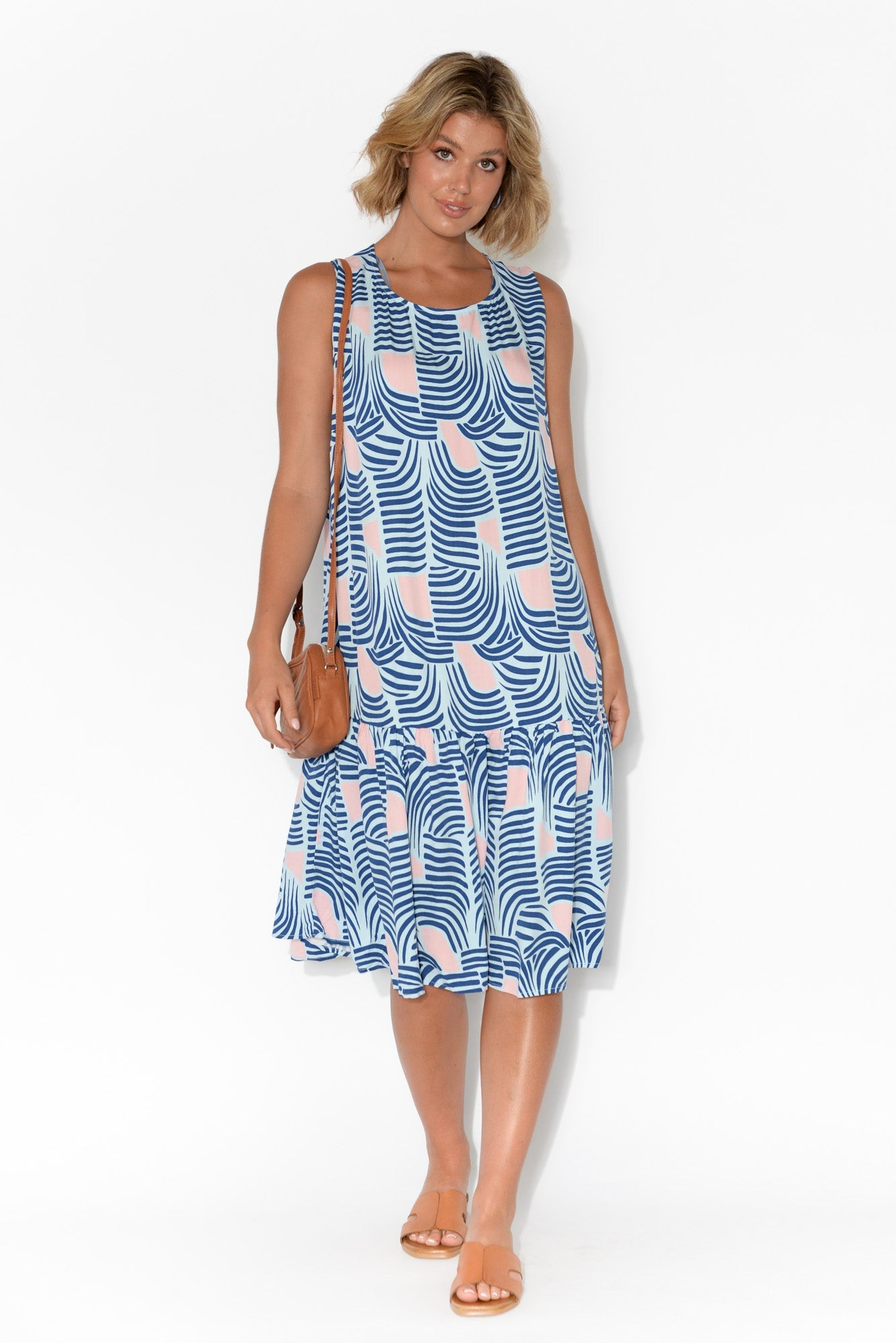 Tropical Palm Sleeveless Midi Dress