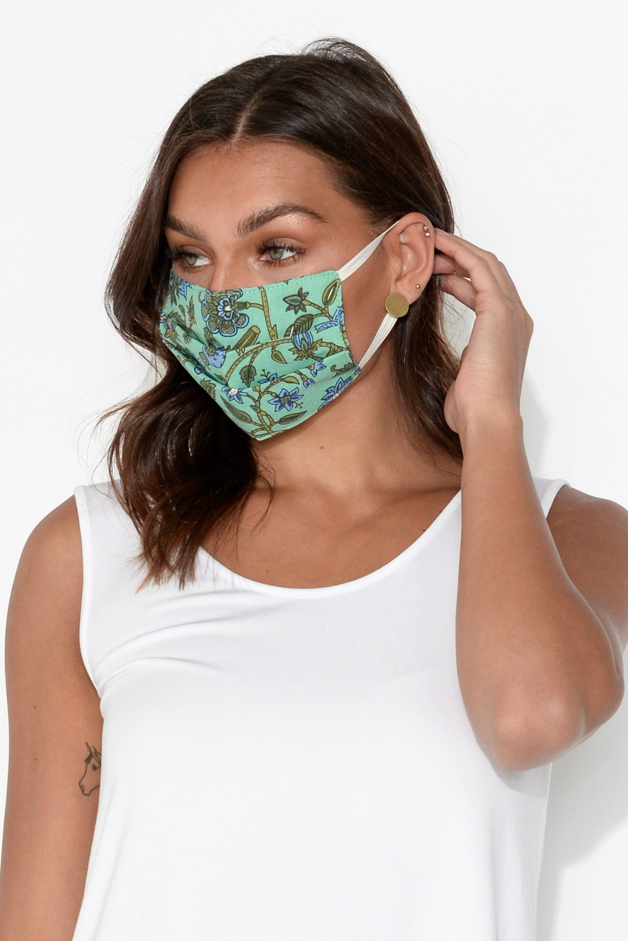 Turquoise Floral Cotton Fashion Face Mask