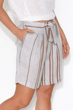 Viola Rust Stripe Linen Shorts