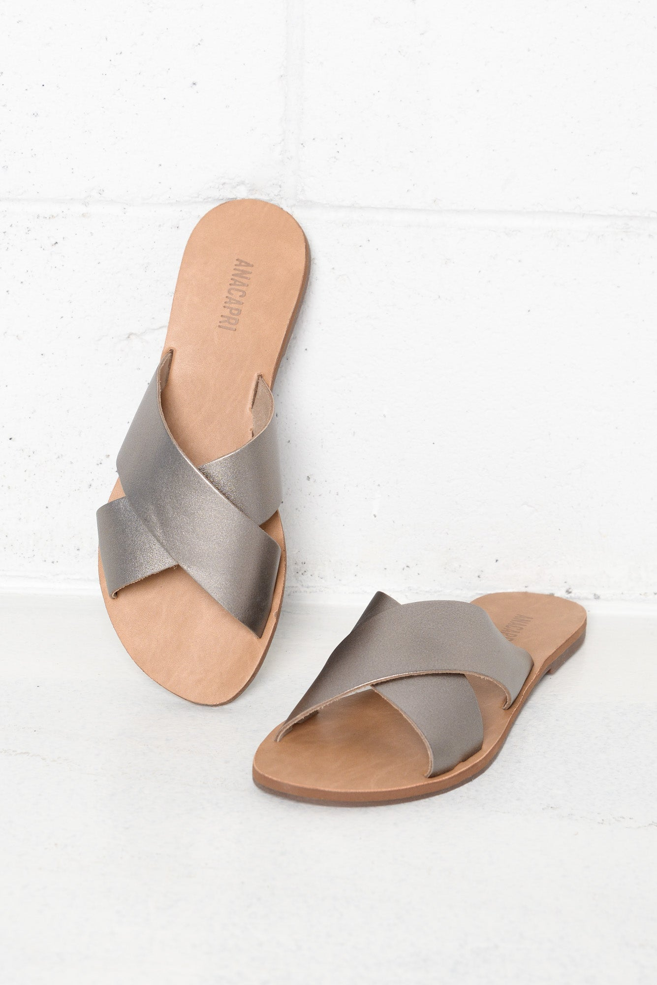 Violette Silver Leather Cross Over Slide