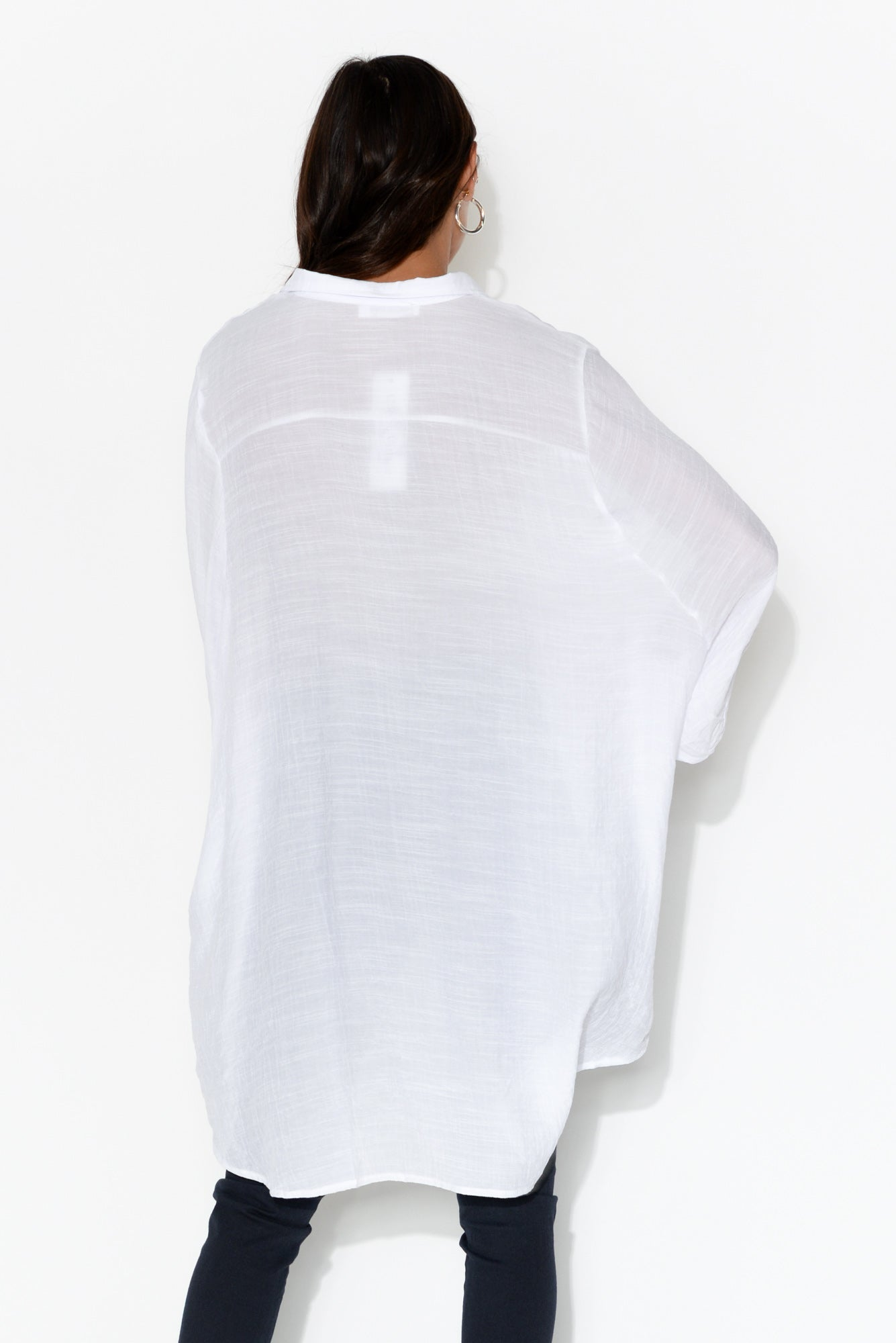 White Cotton Hi Lo Shirt