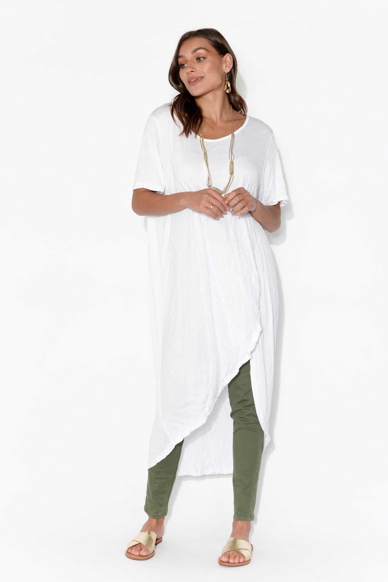 White Crinkle Cotton Curved Hi Lo Tunic