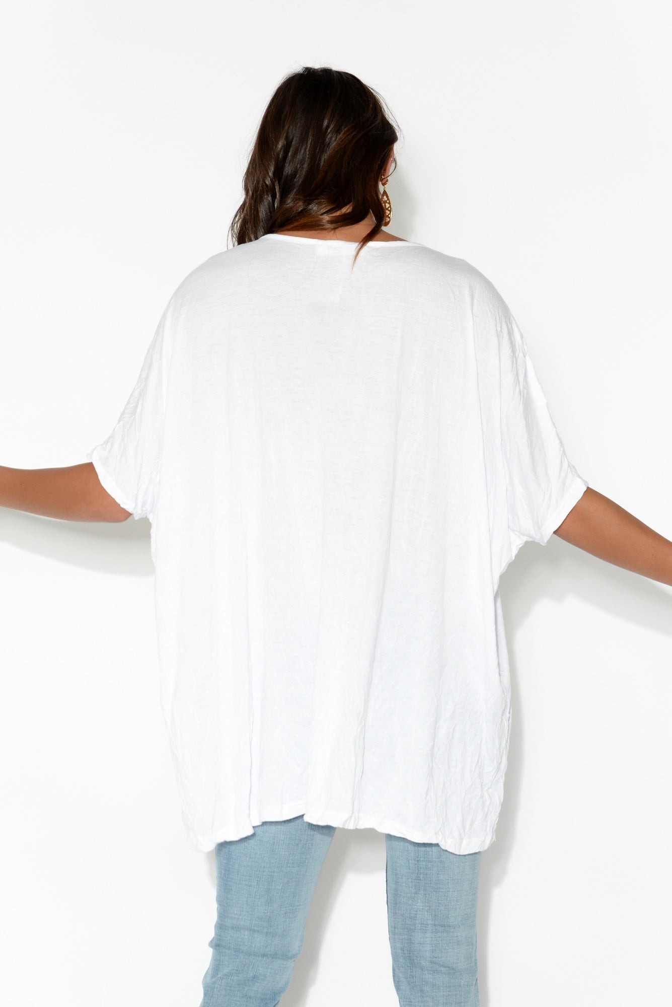 White Crinkle Cotton Oversized Tee