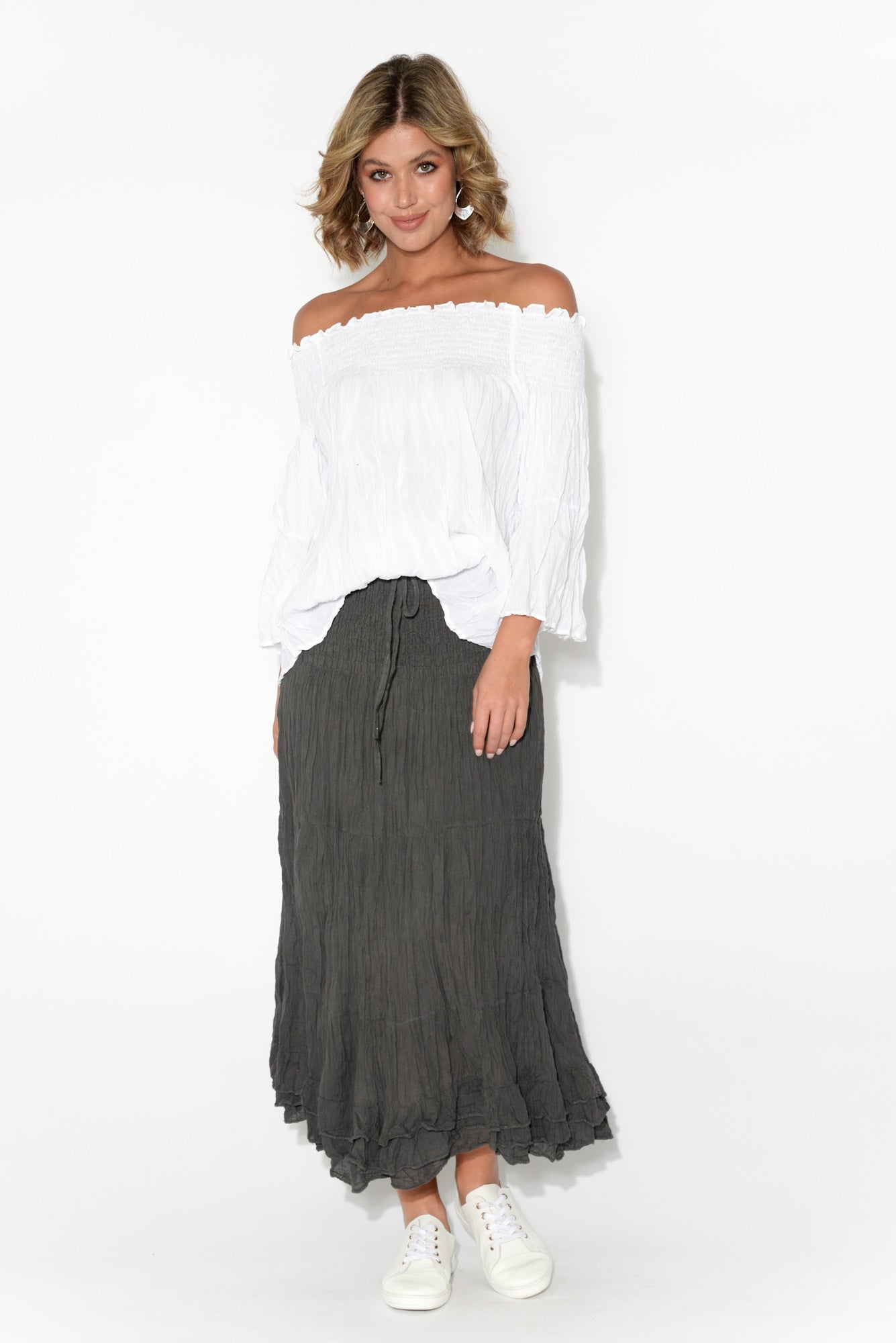 White Off Shoulder Crinkle Cotton Top