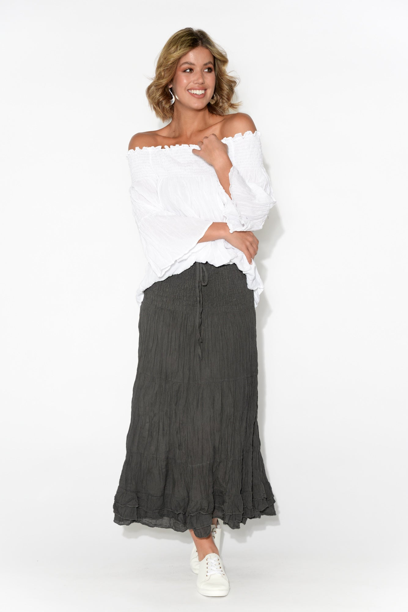Charcoal Crinkle Cotton Midi Skirt