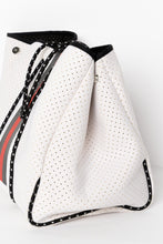White Stripe Neoprene Lifestyle Tote Bag