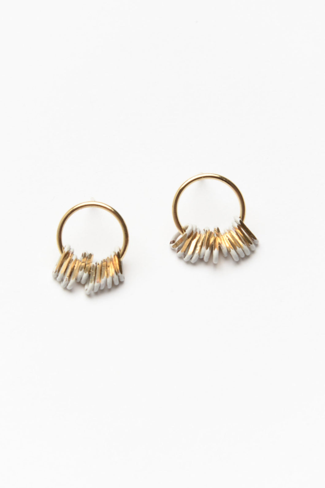 White and Gold Aries Earrings
