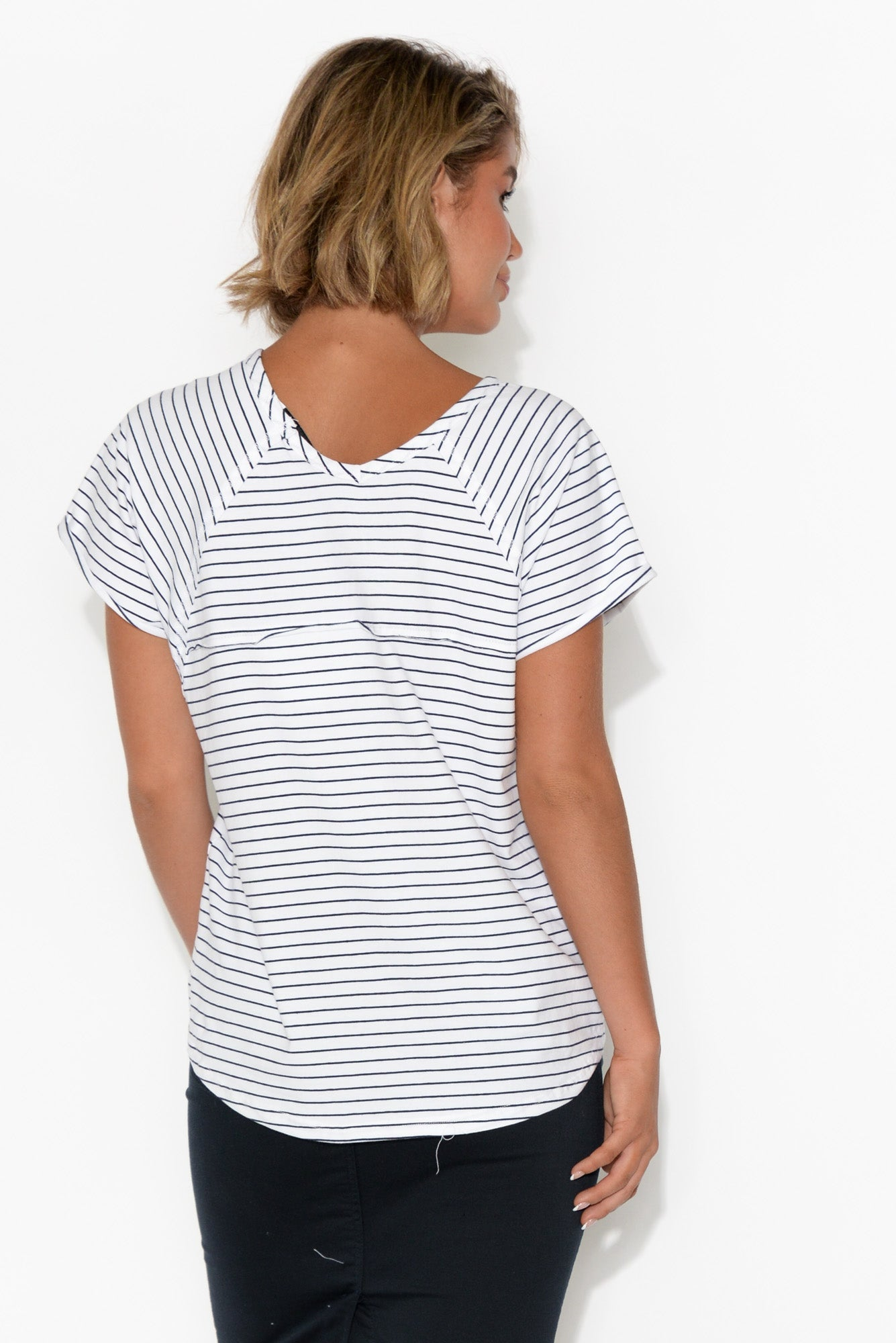 White and Navy Stripe Slouch Tee