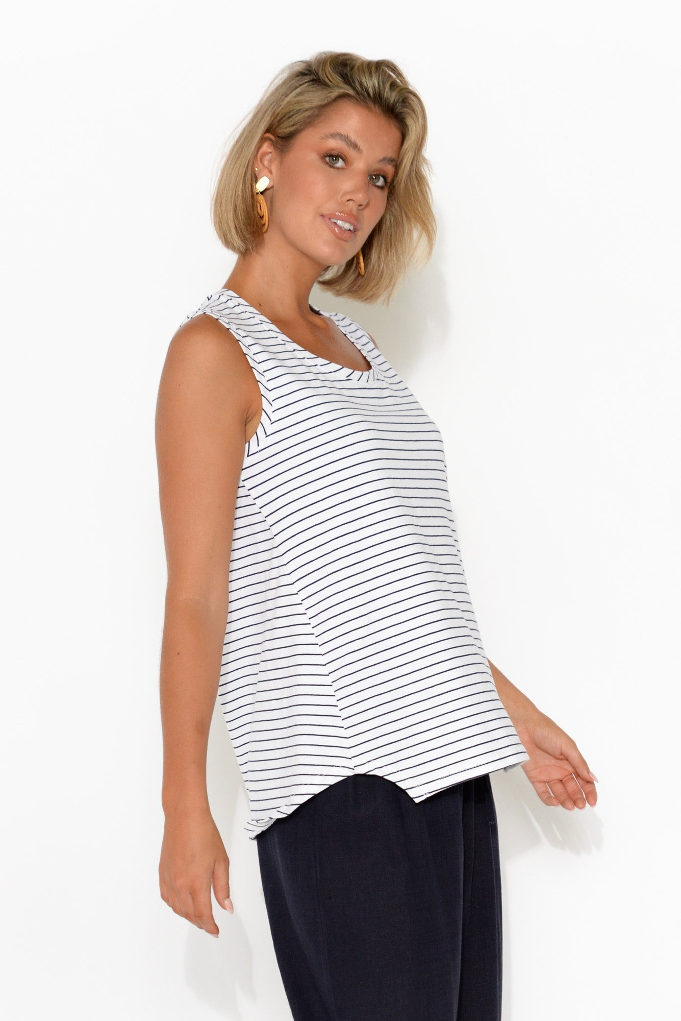 White and Navy Stripe Step Hem Tank