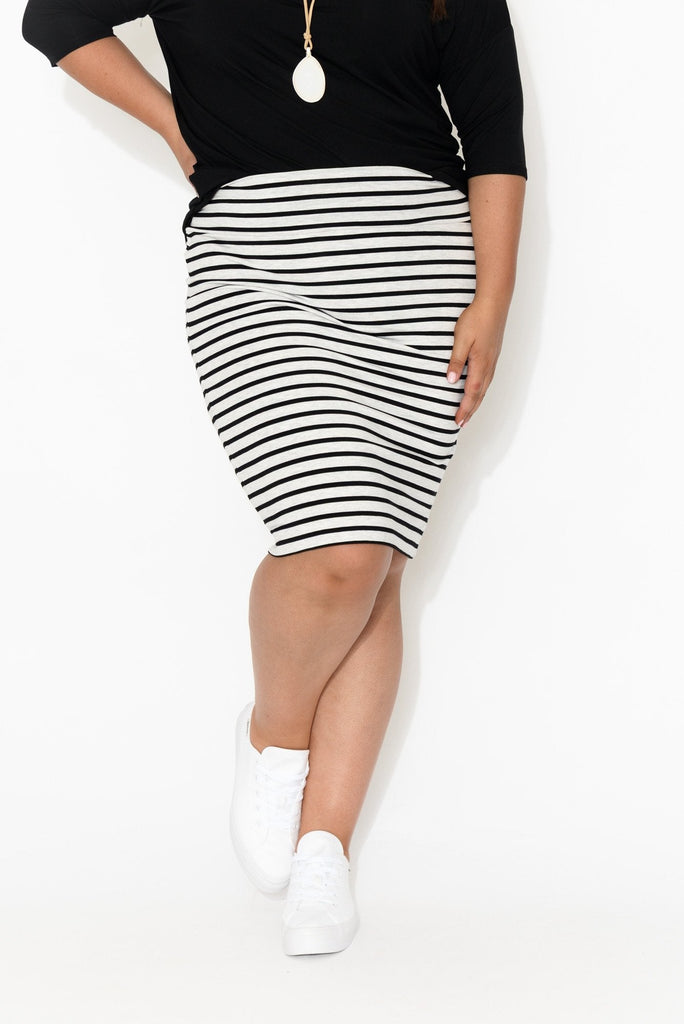 Whitney Grey Striped Bamboo Tube Skirt