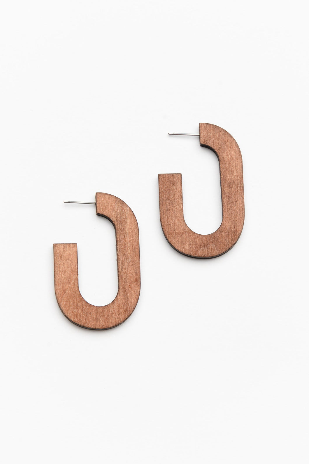 Wooden Curved Oval Earring