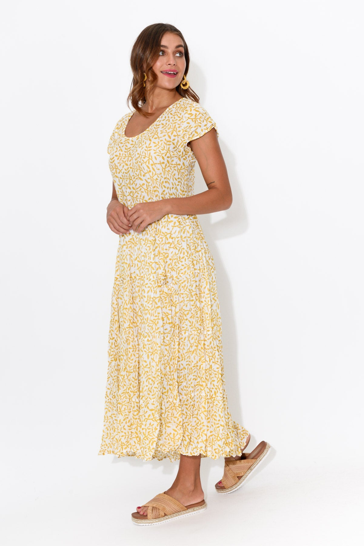 Yellow Vines Flared Crinkle Cotton Dress