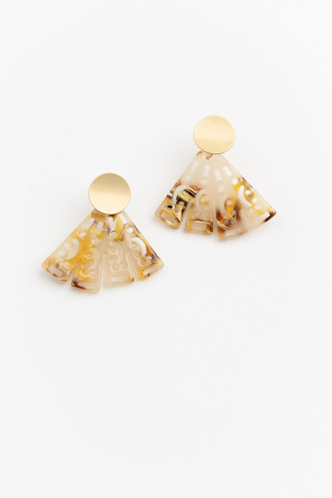 Yellow and Gold Resin Earring - Blue Bungalow