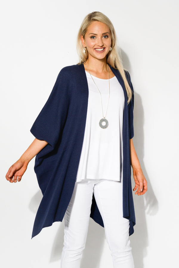 Corinne Navy Cashmere Knit Coat - Blue Bungalow