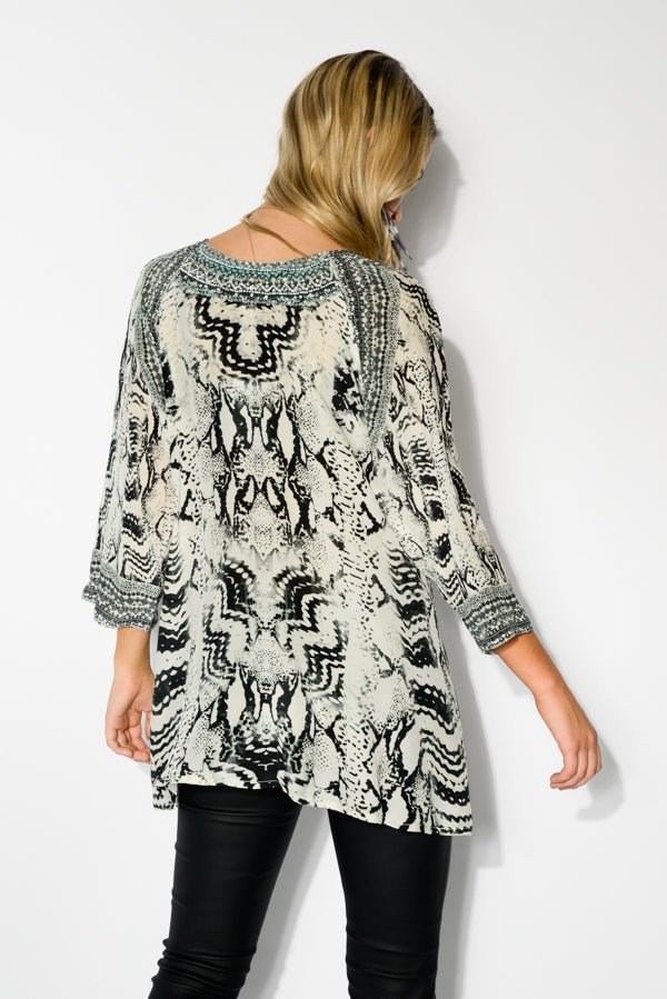 Tribal Silk Gypsy Top - Blue Bungalow