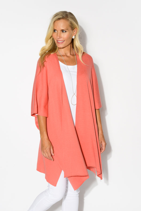 Corinne Coral Cashmere Knit Coat - Blue Bungalow