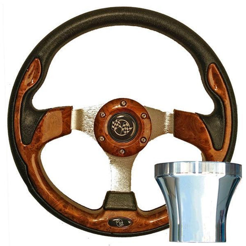E-Z-GO Woodgrain Rally Steering Wheel Chrome Adaptor Kit (Fits 1994.5-Up)