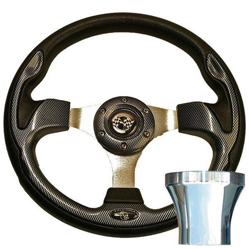 E-Z-GO Carbon Fiber Rally Steering Wheel Chrome Adaptor Kit (Fits 1994.5-Up)
