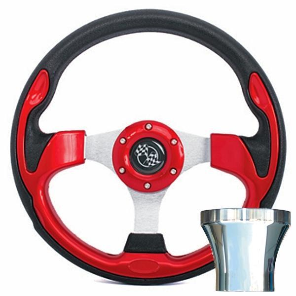 Club Car DS Red Rally Steering Wheel Chrome Adapter Kit (Fits 1982-Up)