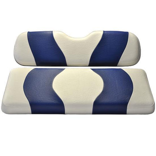 Madjax Wave White/Blue Two-Tone EZGO TXT Front Seat Covers (Fits 1994.5-Up)