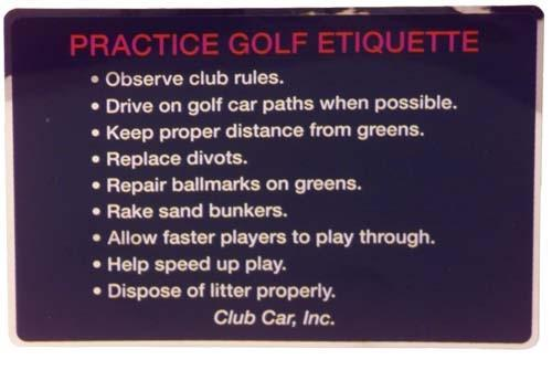 DECAL, GOLF ETIQUETTE, CC/B/92-97