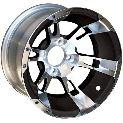 12X7 Machined/Black Yellow Jacket Wheel (3:4 Offset)