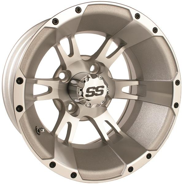 12X7 Machined Silver Yellow Jacket Wheel W/SS Cap (3:4 Offset)