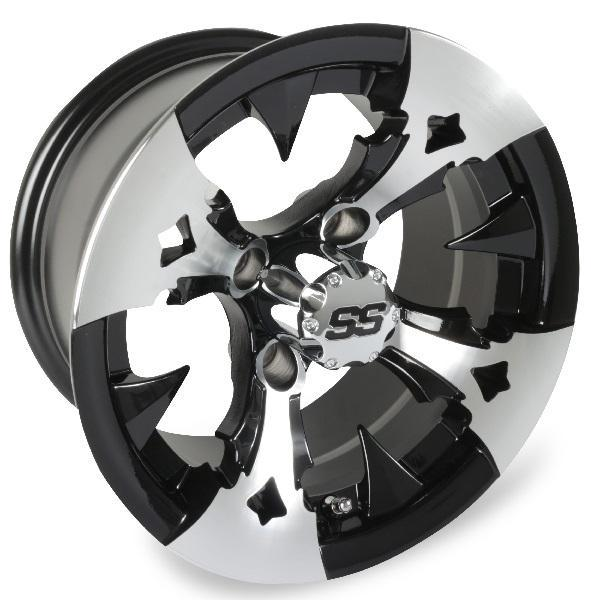 12X7 Machined/Black Battle Axe Wheel (3:4 Offset)
