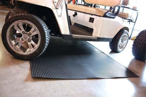 "4' x 8' Black Ribbed Garage Mat 1/8"" + Thickness"
