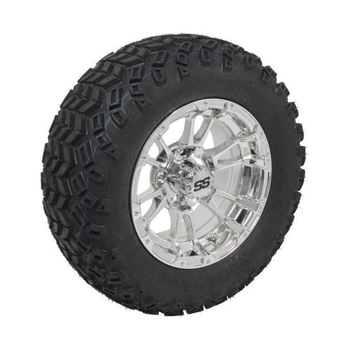 Set of (4) 12 inch Mirrored Typhoon Wheels on 22 inch All-Terrain Tires (Lift Required)