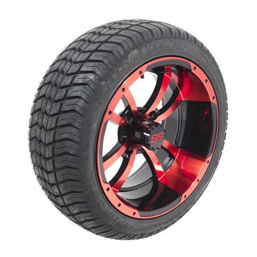 Set of (4) 14 inch Red/Black Storm Trooper Wheels on Lo-Pro Street Tires (No Lift Required)