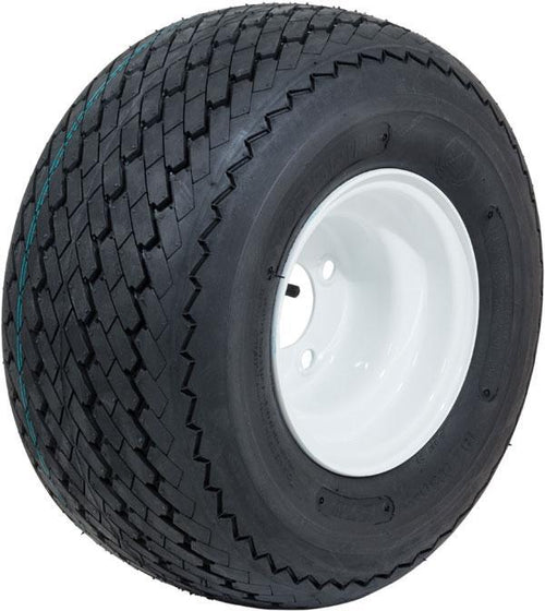 "8"" GTW Topspin Tire & White Steel Wheel Assembly"