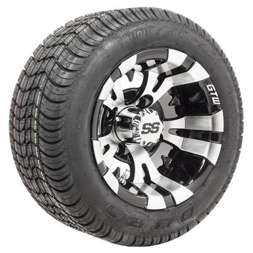 "Set of (4) 10"" GTW Vampire Wheels on Mounted on Duro Lo-Pro Street Tires"
