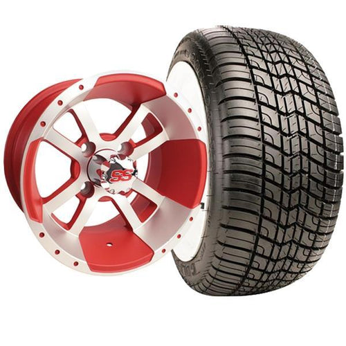 "Set of (4) 12"" Storm Trooper Machined Matte Red Wheels On Lo-Pro Tires"