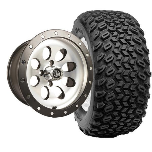 "Set of (4) 12"" Rally Beadlock Machined & Black Wheels on A/T Tires"