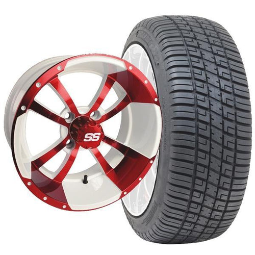 "Set of (4) 14"" Storm Trooper White & Red Wheels on Lo-Pro Tires"
