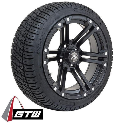 "Set of (4) 14"" GTW Matte Black Specter Wheels On Lo-Pro Tires"