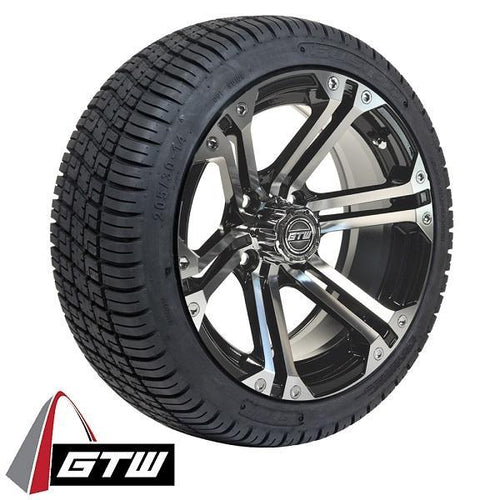 "Set of (4) 14"" GTW Machined/Black Specter Wheels On Lo-Pro Tires"