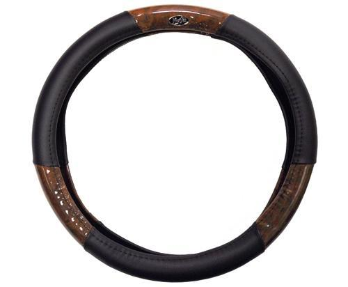 Madjax Black and Woodgrain Steering Wheel Cover