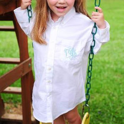 Flower Girl Monogram Button Down