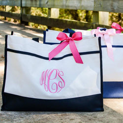 Monogram Canvas Style Tote Bag