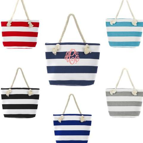 Monogrammed Strip Nautical Canvas Tote