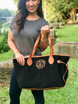 Large Monogrammed Canvas and Vegan Leather Tote Bag