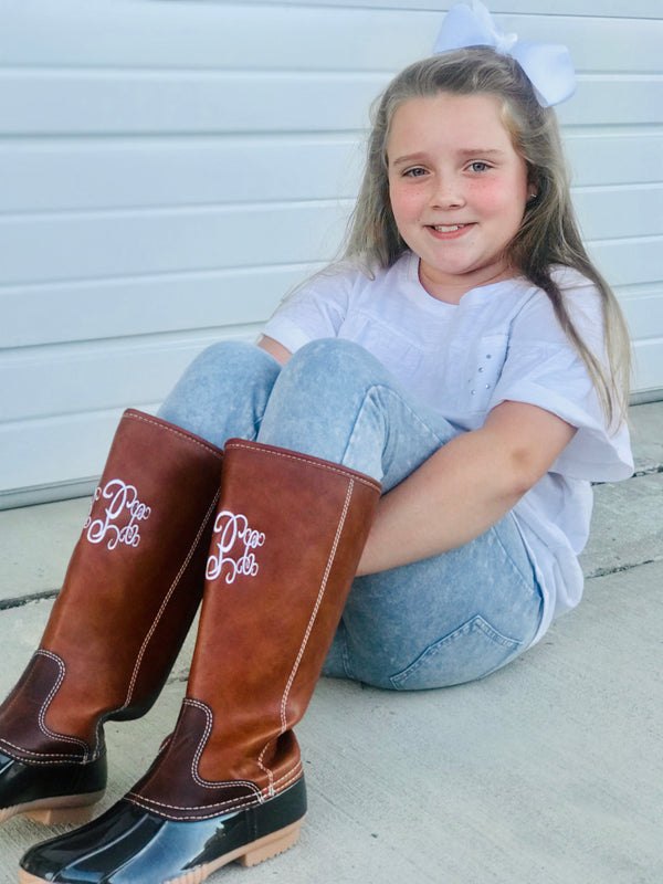 Kids Monogrammed Tall Duck Boots