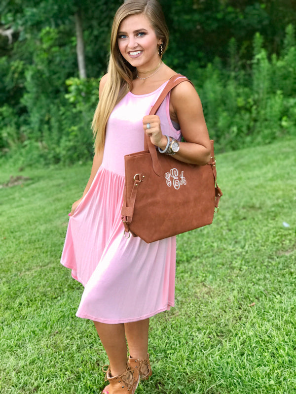 Monogrammed Blush Pink Leather Handbag