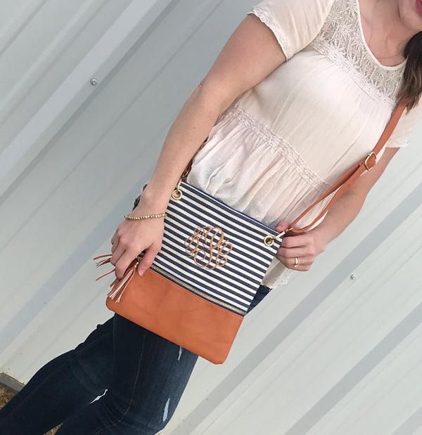 Monogrammed Stripe Crossbody