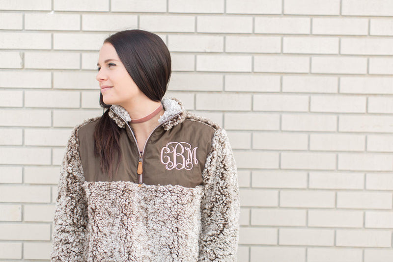 Monogram Frosted Sherpa Pullover