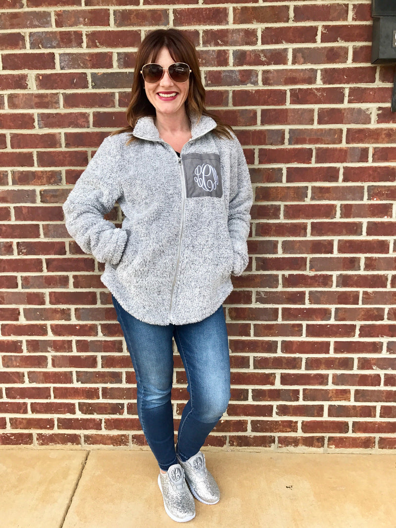 Preppy Monogram Full Zip Sherpa Jacket